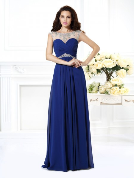 Fashion A-Line/Princess Beading Sleeveless Bateau Long Chiffon Dresses