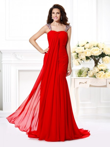 Fashion Trumpet/Mermaid Beading Rhinestone Straps Sleeveless Long Chiffon Dresses