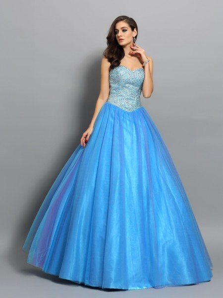 Fashion Ball Gown Beading Sleeveless Sweetheart Long Elastic Woven Satin Quinceanera Dresses
