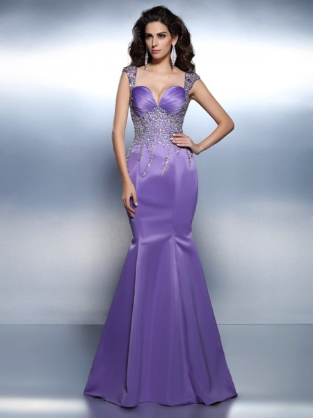 Stylish Trumpet/Mermaid Beading Sleeveless Sweetheart Long Satin Dresses