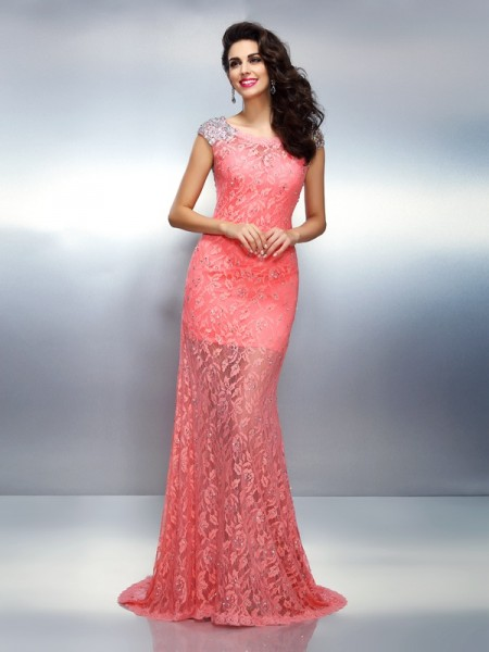 Stylish Trumpet/Mermaid Beading Sleeveless Bateau Long Satin Dresses