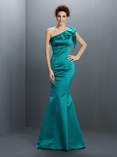 Stylish Trumpet/Mermaid Sleeveless Long One-Shoulder Satin Dresses