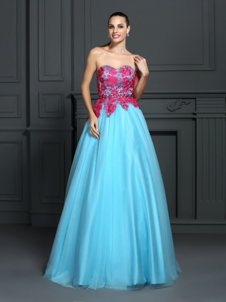 Stylish Ball Gown Lace Sleeveless Sweetheart Long Satin Quinceanera Dresses