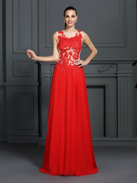 Stylish A-Line/Princess Applique Sleeveless Bateau Long Chiffon Dresses