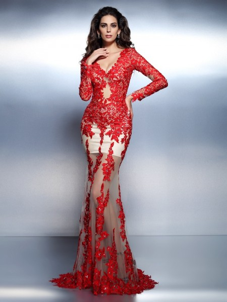 Fashion Trumpet/Mermaid Applique Long Sleeves V-neck Long Lace Dresses
