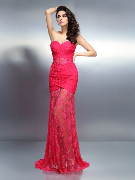 Stylish Trumpet/Mermaid Pleats Sleeveless Sweetheart Long Chiffon Dresses
