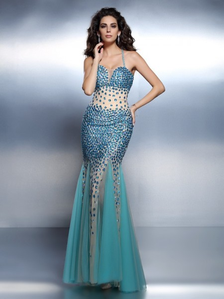 Stylish Trumpet/Mermaid Straps Rhinestone Spaghetti Sleeveless Long Satin Dresses