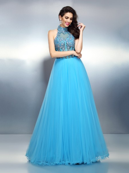 Fashion A-Line/Princess Beading Sleeveless High Neck Long Satin Dresses