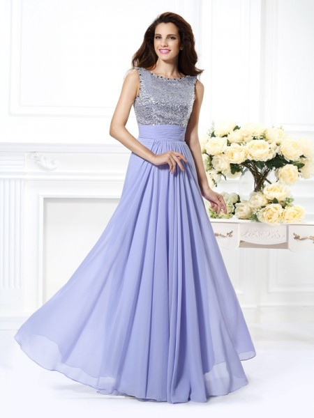 Fashion A-Line/Princess Lace Sleeveless Bateau Paillette Long Chiffon Dresses
