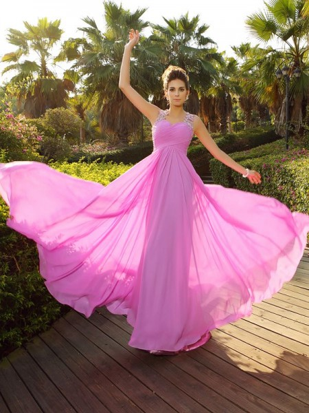 Stylish A-Line/Princess Applique Sleeveless Straps Long Chiffon Dresses