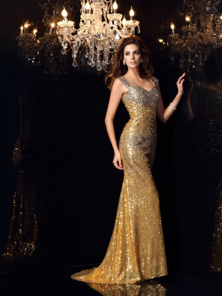 Stylish Trumpet/Mermaid Rhinestone Sleeveless Straps Long Sequins Dresses