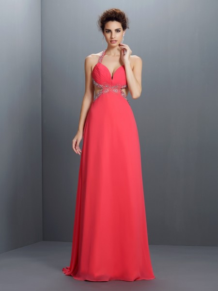 Stylish A-Line/Princess Beading Sleeveless Halter Long Chiffon Dresses