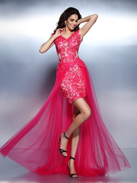 Fashion A-Line/Princess Lace Sleeveless V-neck Long Lace Dresses