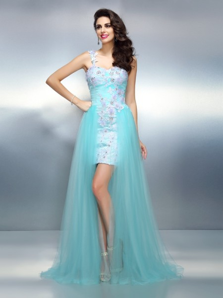 Stylish Sheath/Column Applique Sleeveless One-Shoulder Long Elastic Woven Satin Dresses