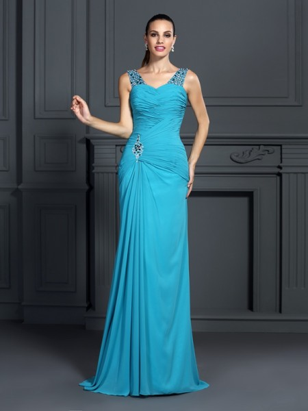 Stylish Trumpet/Mermaid Ruffles Sleeveless Straps Long Chiffon Dresses