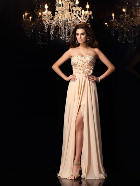 Fashion A-Line/Princess Hand-Made Flower Sweetheart Sleeveless Long Chiffon Dresses