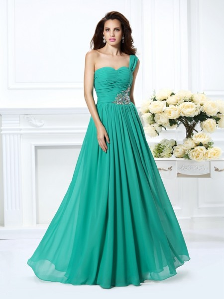 Stylish A-Line/Princess Beading Sleeveless One-Shoulder Long Chiffon Dresses