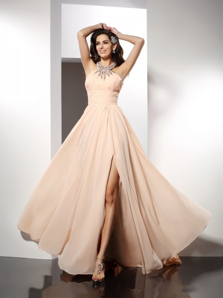 Stylish A-Line/Princess Ruffles Sleeveless Jewel Long Chiffon Dresses