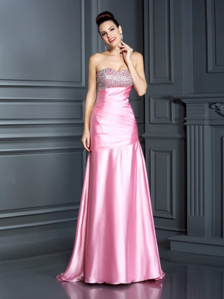 Fashion Trumpet/Mermaid Beading Sleeveless Sweetheart Long Elastic Woven Satin Dresses