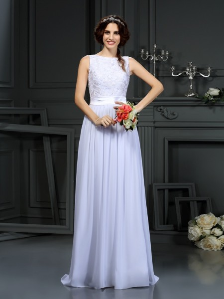 Fashion A-Line/Princess Lace Sleeveless Scoop Long Chiffon Wedding Dresses