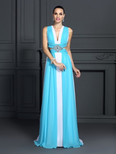 Stylish A-Line/Princess Ruffles Sleeveless Halter Long Chiffon Dresses