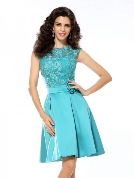 Fashion A-Line/Princess Applique Sleeveless Scoop Short Satin Cocktail Dresses