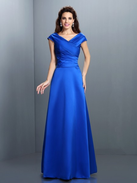 Fashion A-Line/Princess Sleeveless Long V-neck Satin Dresses