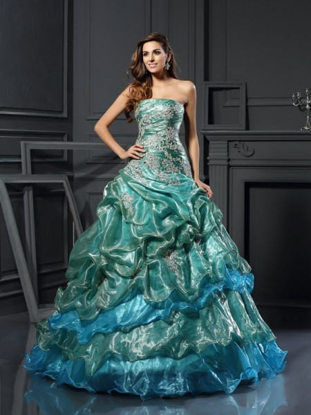 Fashion Ball Gown Applique Sleeveless Sweetheart Long Tulle Quinceanera Dresses