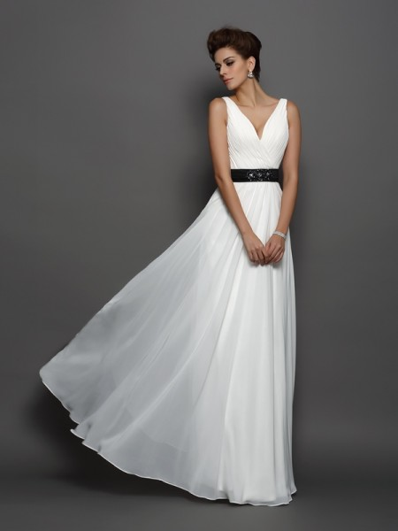 Fashion A-Line/Princess Sash/Ribbon/Belt Sleeveless V-neck Long Chiffon Wedding Dresses