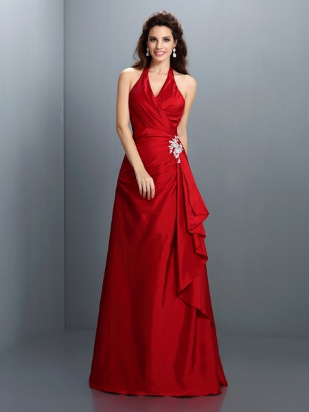 Fashion A-Line/Princess Beading Sleeveless Halter Long Taffeta Dresses