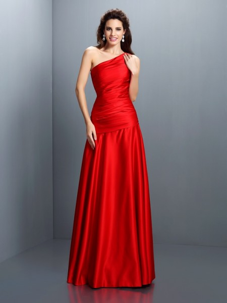 Fashion A-Line/Princess Pleats Sleeveless One-Shoulder Long Satin Dresses