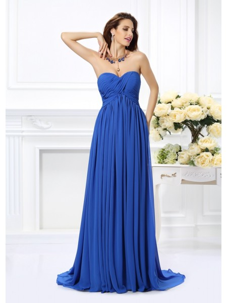 Fashion A-Line/Princess Ruched Sleeveless Sweetheart Long Chiffon Dresses
