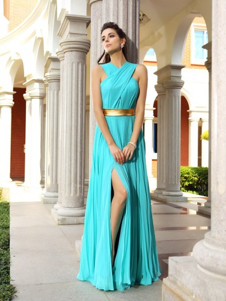 Stylish A-Line/Princess Sleeveless Long Pleats Chiffon Dresses