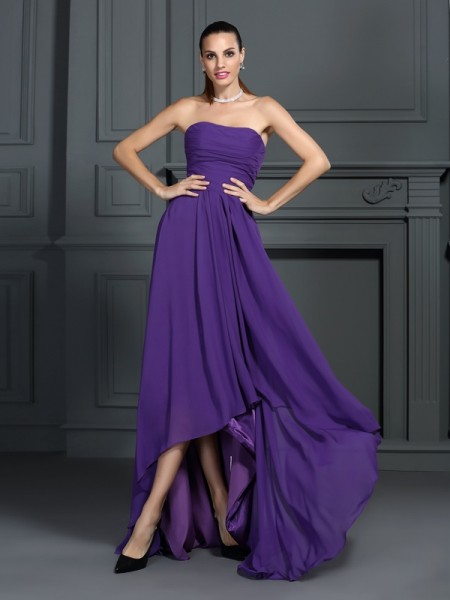 Stylish A-Line/Princess Pleats Sleeveless Strapless High Low Chiffon Cocktail Dresses