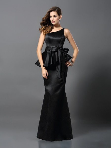 Stylish Trumpet/Mermaid Bowknot Sleeveless One-Shoulder Long Satin Dresses