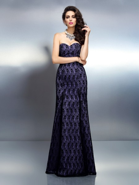 Fashion Trumpet/Mermaid Lace Sleeveless Sweetheart Long Satin Dresses
