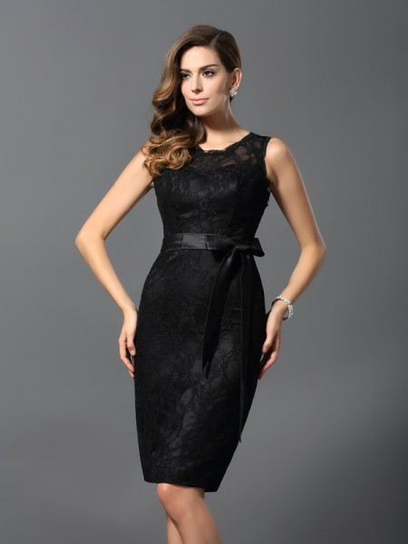 Fashion Sheath/Column Lace Sleeveless Jewel Short Satin Cocktail Dresses