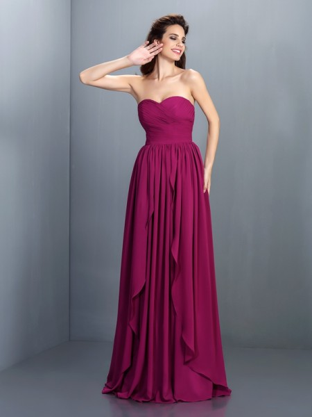 Stylish A-Line/Princess Pleats Sleeveless Sweetheart Long Chiffon Dresses