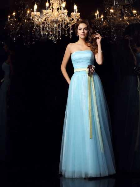 Fashion Ball Gown Sash/Ribbon/Belt Sleeveless Strapless Long Satin Quinceanera Dresses
