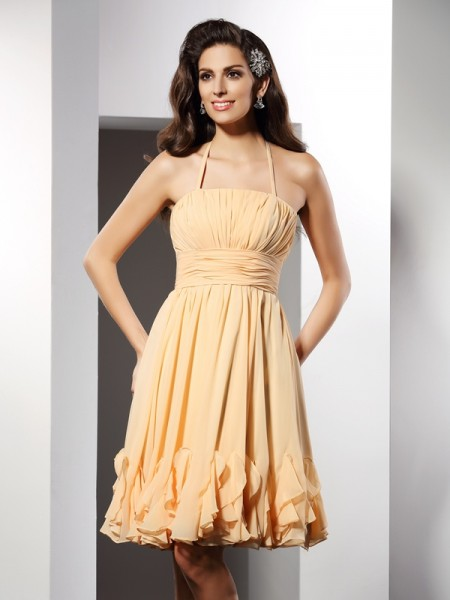 Fashion A-Line/Princess Ruffles Sleeveless Halter Short Chiffon Cocktail Dresses