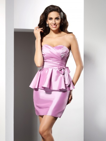 Stylish Sheath/Column Bowknot Sleeveless Sweetheart Short Taffeta Cocktail Dresses