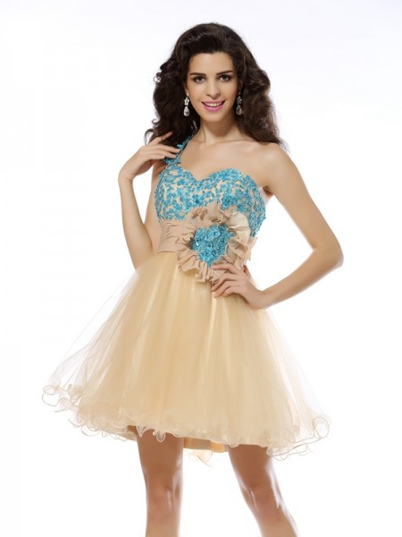 Fashion A-Line/Princess Applique Sleeveless One-Shoulder Short Net Cocktail Dresses