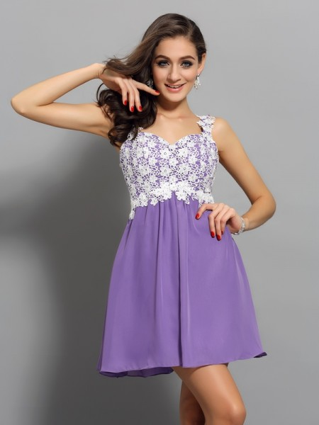 Stylish A-Line/Princess Applique Sleeveless Straps Short Chiffon Cocktail Dresses
