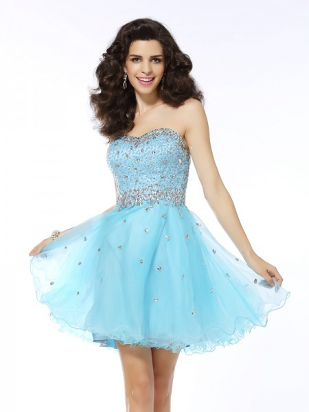 Fashion A-Line/Princess Ruffles Sleeveless Sweetheart Short Organza Cocktail Dresses