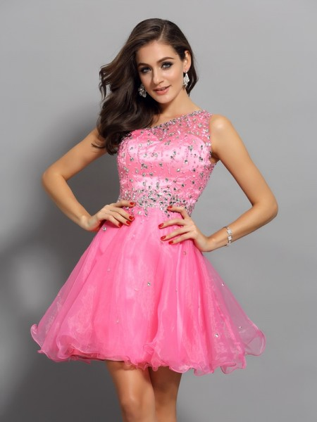 Stylish A-Line/Princess Ruffles Sleeveless One-Shoulder Short Organza Cocktail Dresses