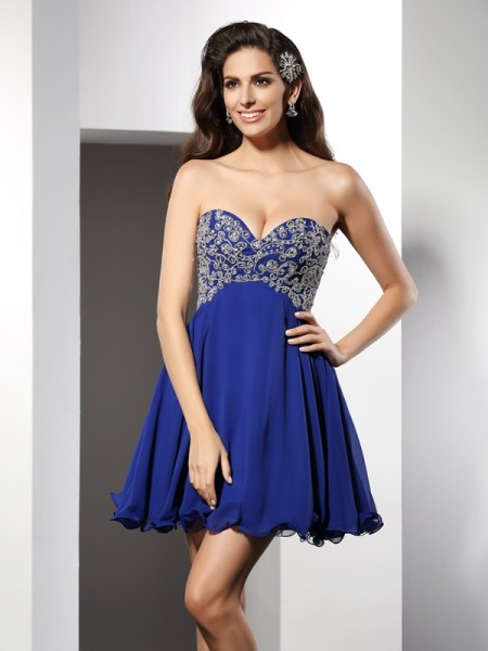 Stylish A-Line/Princess Ruffles Sleeveless Sweetheart Short Chiffon Cocktail Dresses