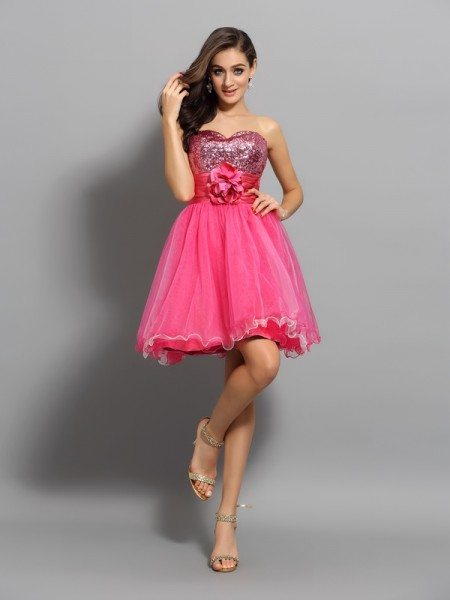 Fashion A-Line/Princess Ruffles Sleeveless Sweetheart Short Net Cocktail Dresses