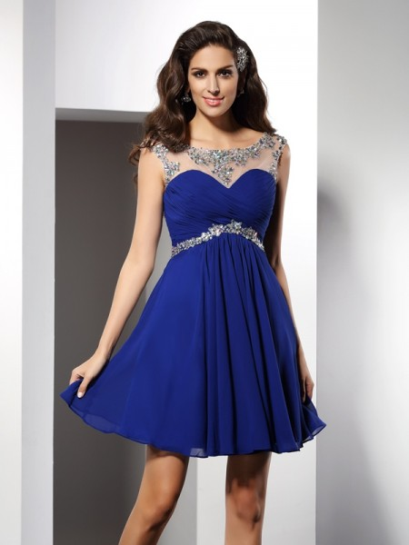 Stylish A-Line/Princess Beading Sleeveless Scoop Short Chiffon Cocktail Dresses