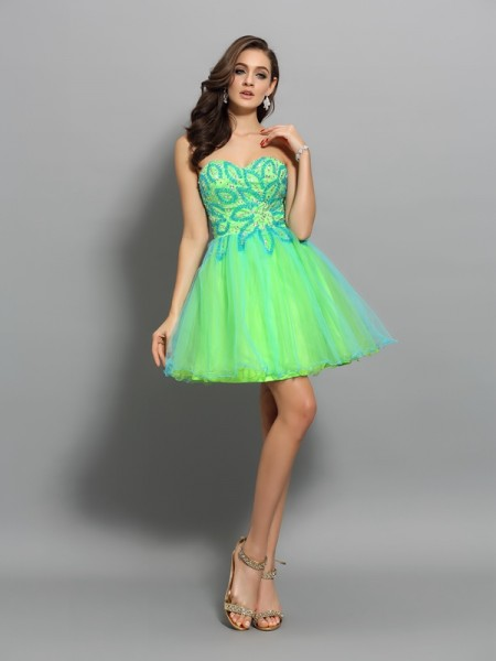 Fashion A-Line/Princess Beading Sleeveless Sweetheart Short Net Cocktail Dresses
