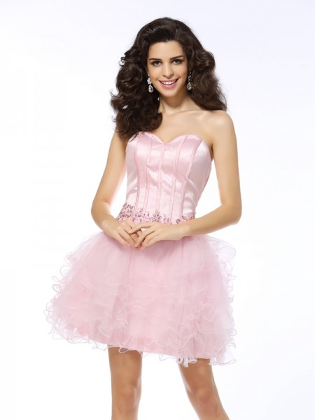 Stylish A-Line/Princess Ruffles Sleeveless Sweetheart Short Net Cocktail Dresses